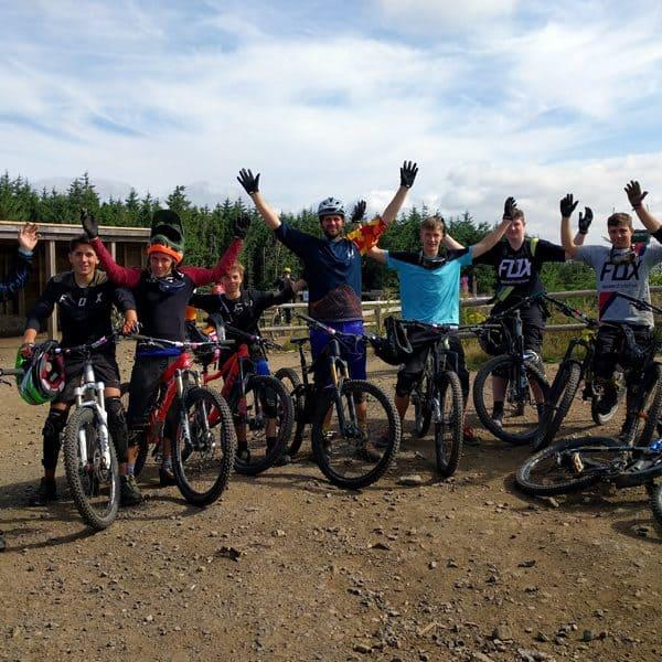 Mountainbiker im Bikepark Wales